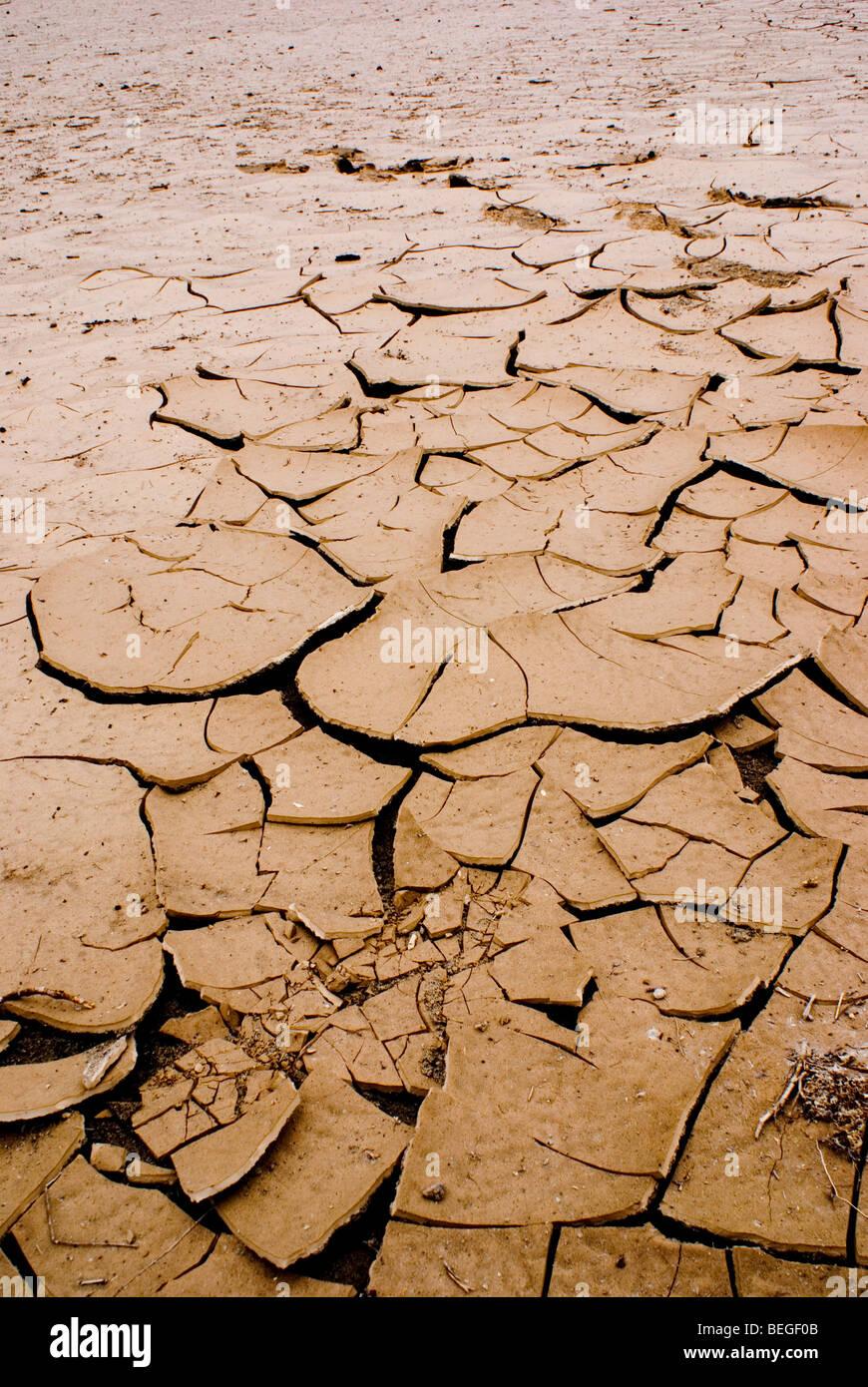 Dry desert soil in Death Valley National Park in ...