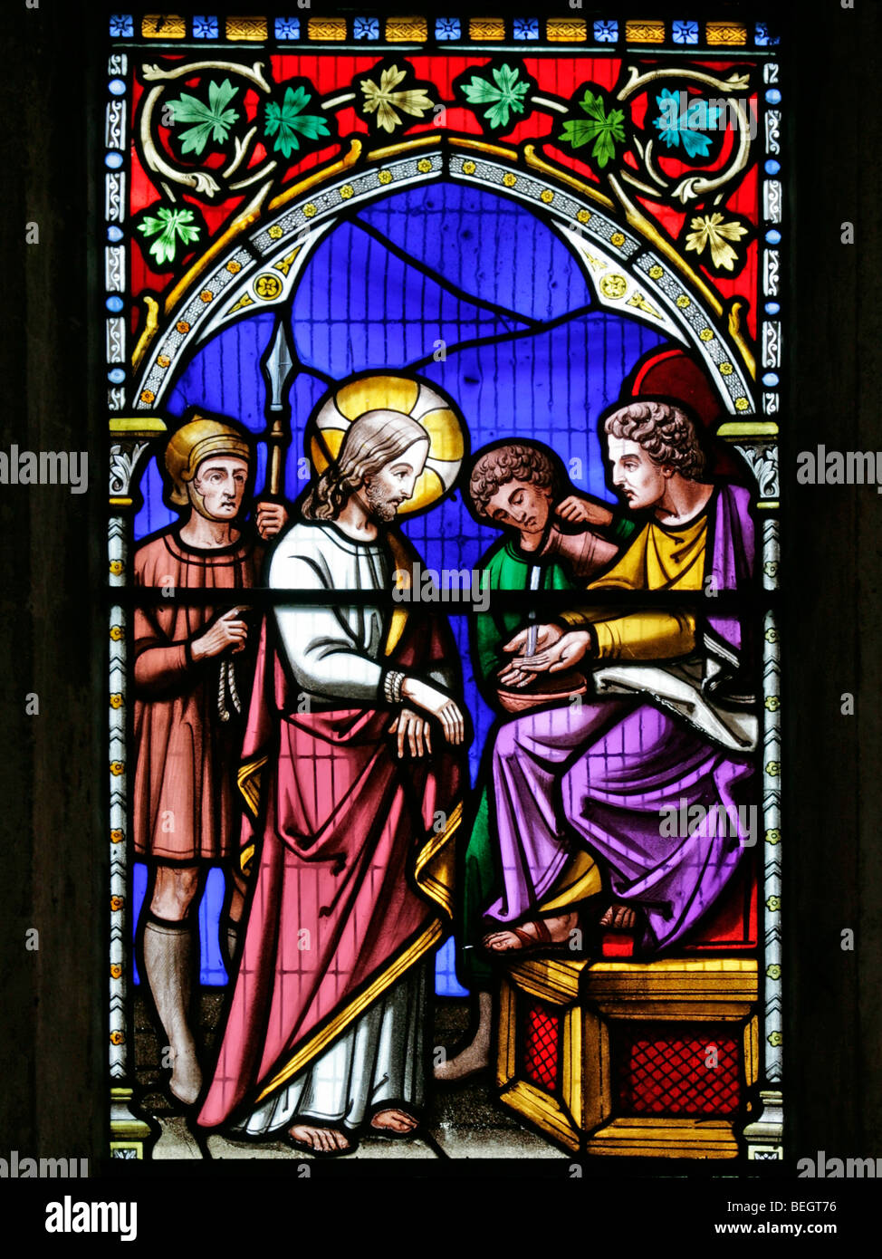 A Stained Glass Window Depicting Jesus Christ Before Pontius Pilate Church Of St Mary The
