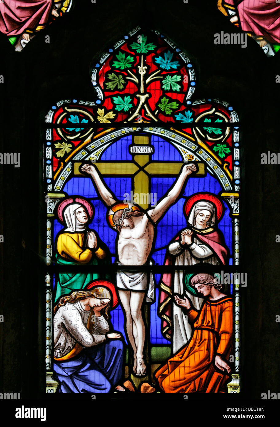A Stained Glass Window Depicting The Crucifixion Of Jesus Christ Church St Mary Virgin Gunthorpe Norfolk