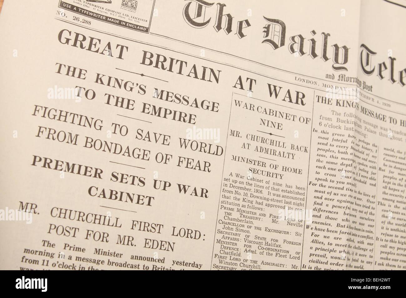 Britain At War newspaper headline from September 1939 at the start ...