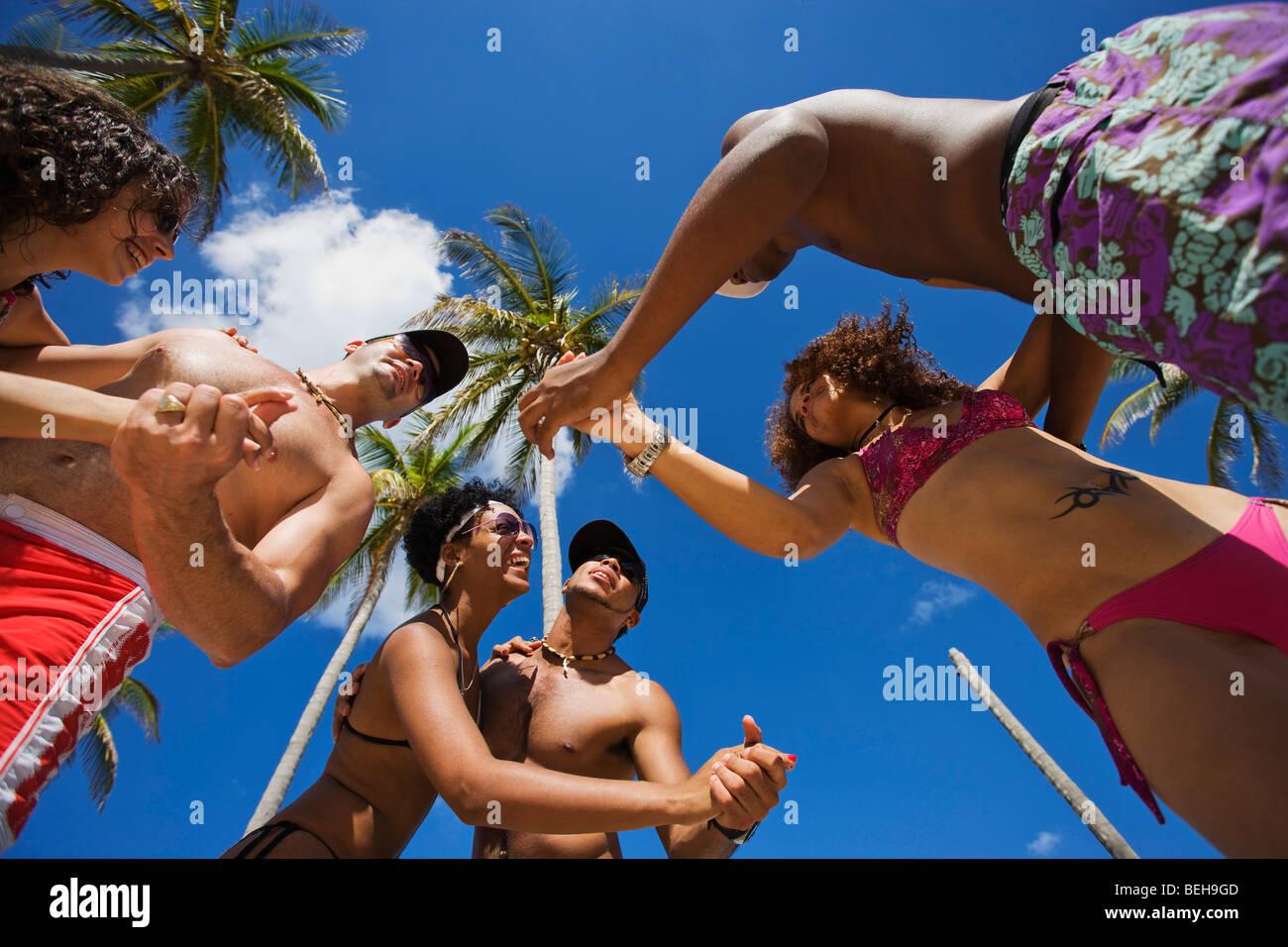 Young People Dancing Salsa At Beach, Playas Del Este, Havana, Ciudad ...