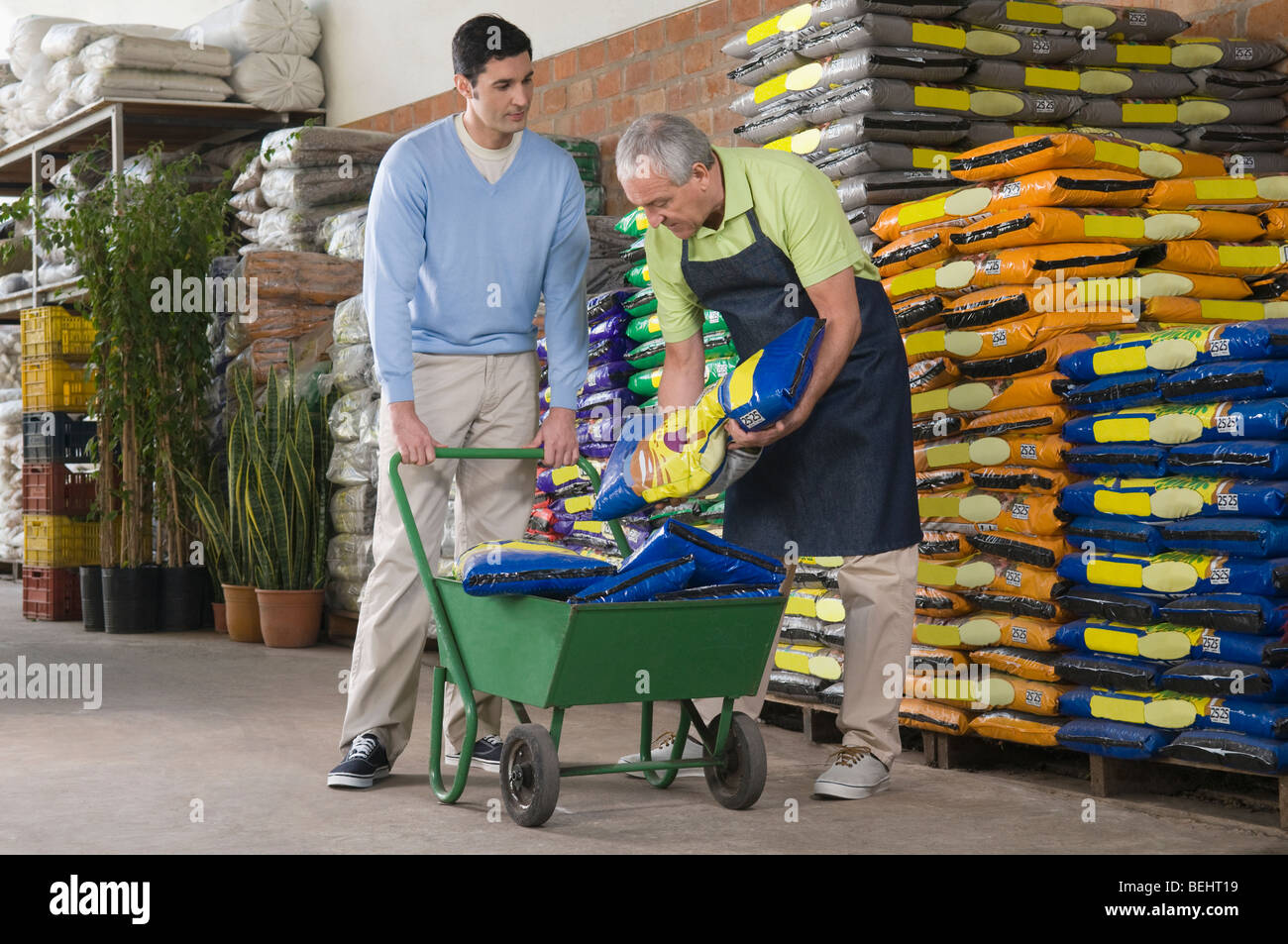 s clerk arranging fertilizer s bag in shopping cart stock s clerk arranging fertilizer s bag in shopping cart