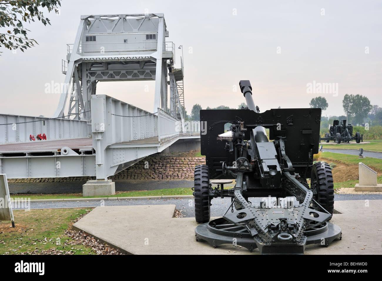 Second World War Two cannon and original Bénouville Bridge ...