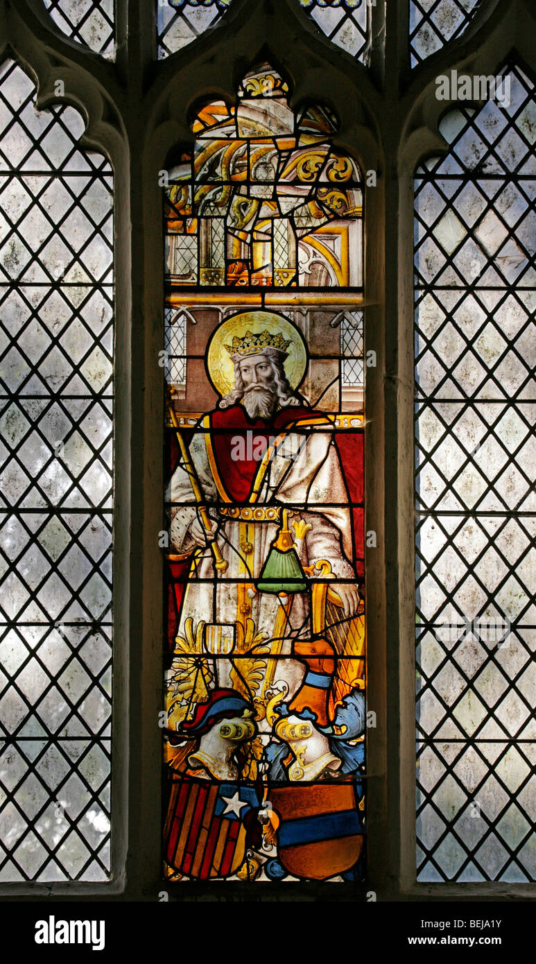 A Medieval Stained Glass Window Depicting King David Playing His Harp St Mary Magdalene Church Warham Norfolk