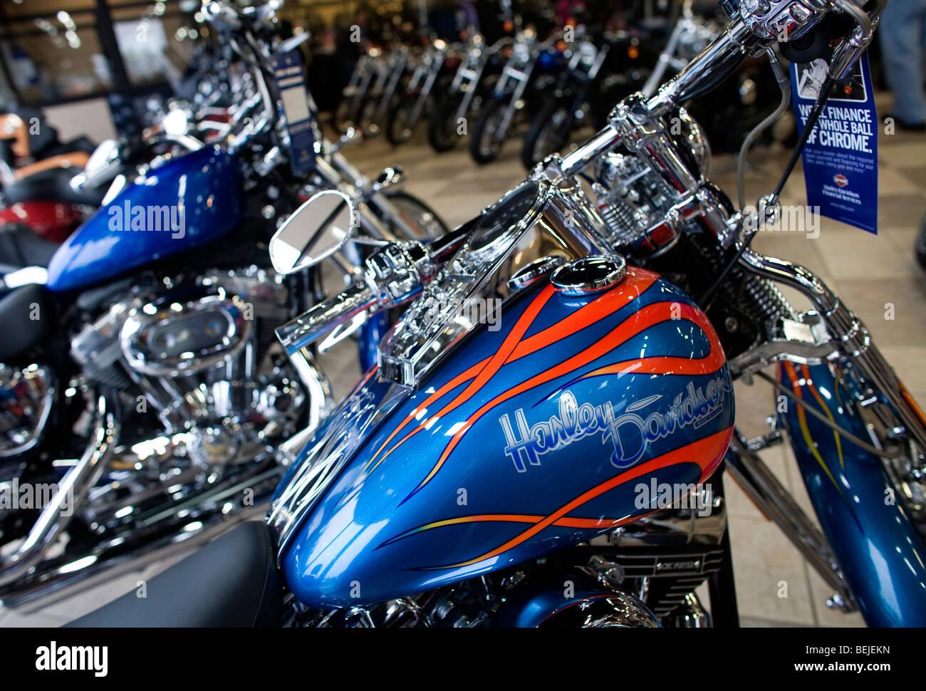 harley-davidson motorcycles on display at a suburban maryland