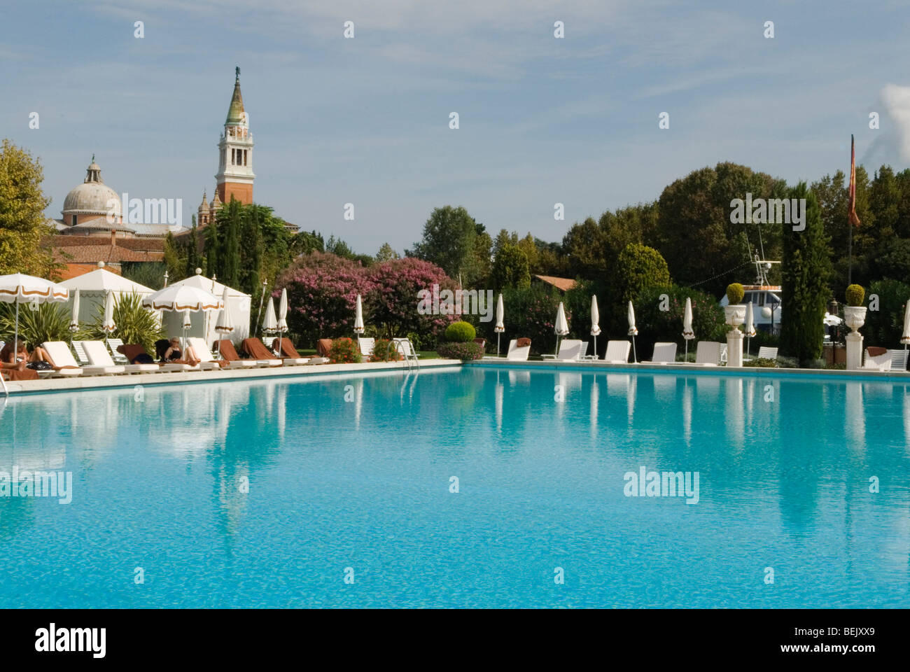 Venice Italy Cipriani Hotel Swimming Pool And Church Of San Giorgio Stock Photo Royalty Free