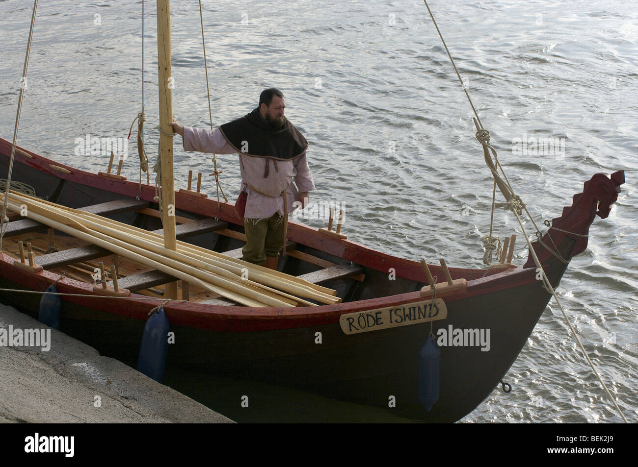 Viking longboat at reenactment in Tiel in the Netherlands ...