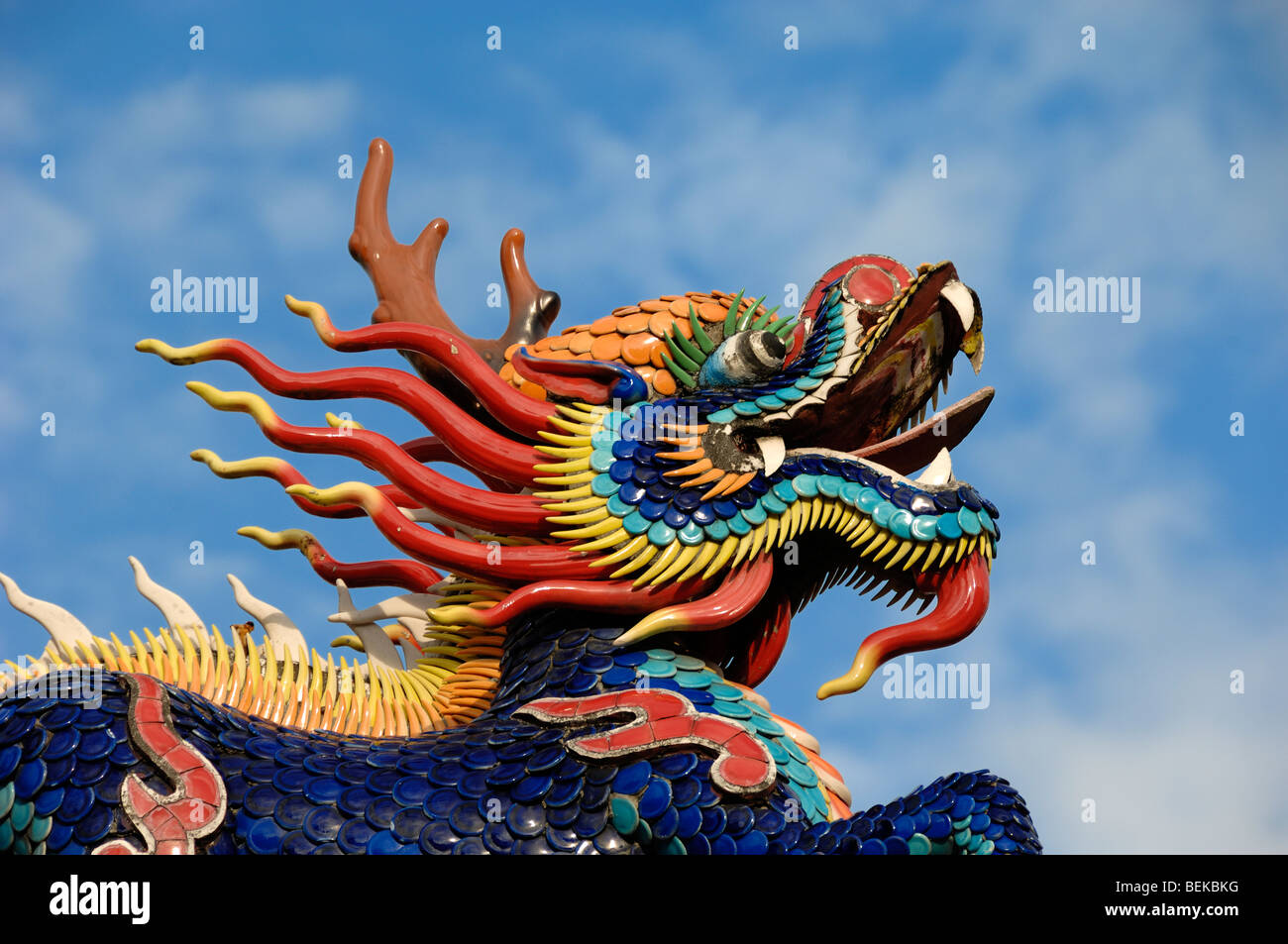 ceramic head of a chinese dragon on the roof of the hong san