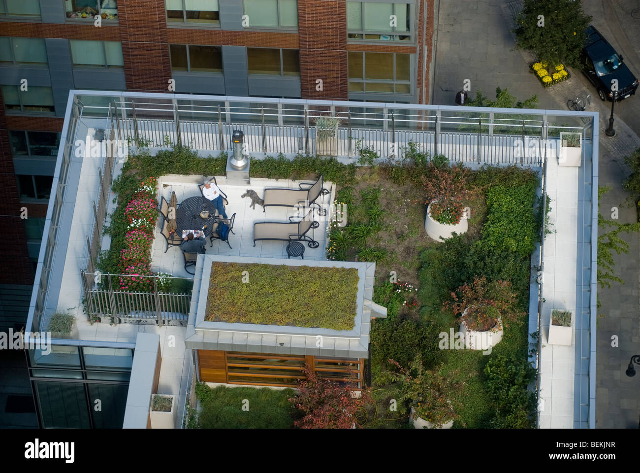 Green Roof Of The Riverhouse In Battery Park City, In New York