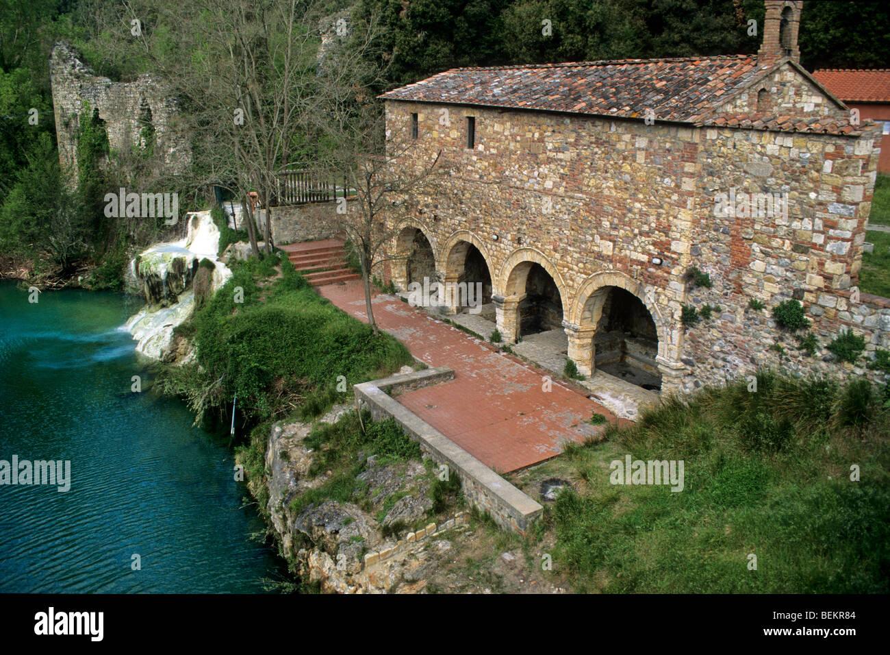 stock photo thermal waters at bagni di petriolo tuscany italy
