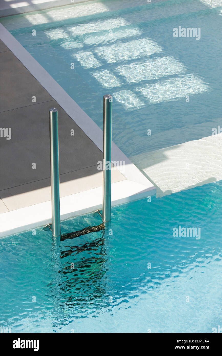 Free Swimming Pool: Swimming Pool Ladder At Deep End Separated From Shallow