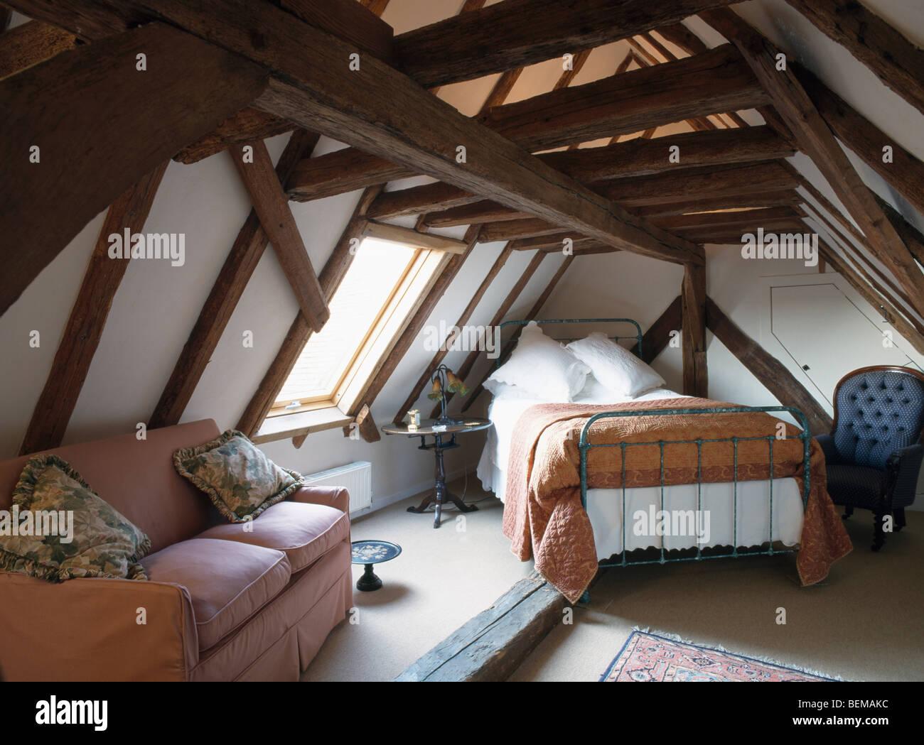 Attic Bed conversion attic pink bedroom stock photos & conversion attic pink