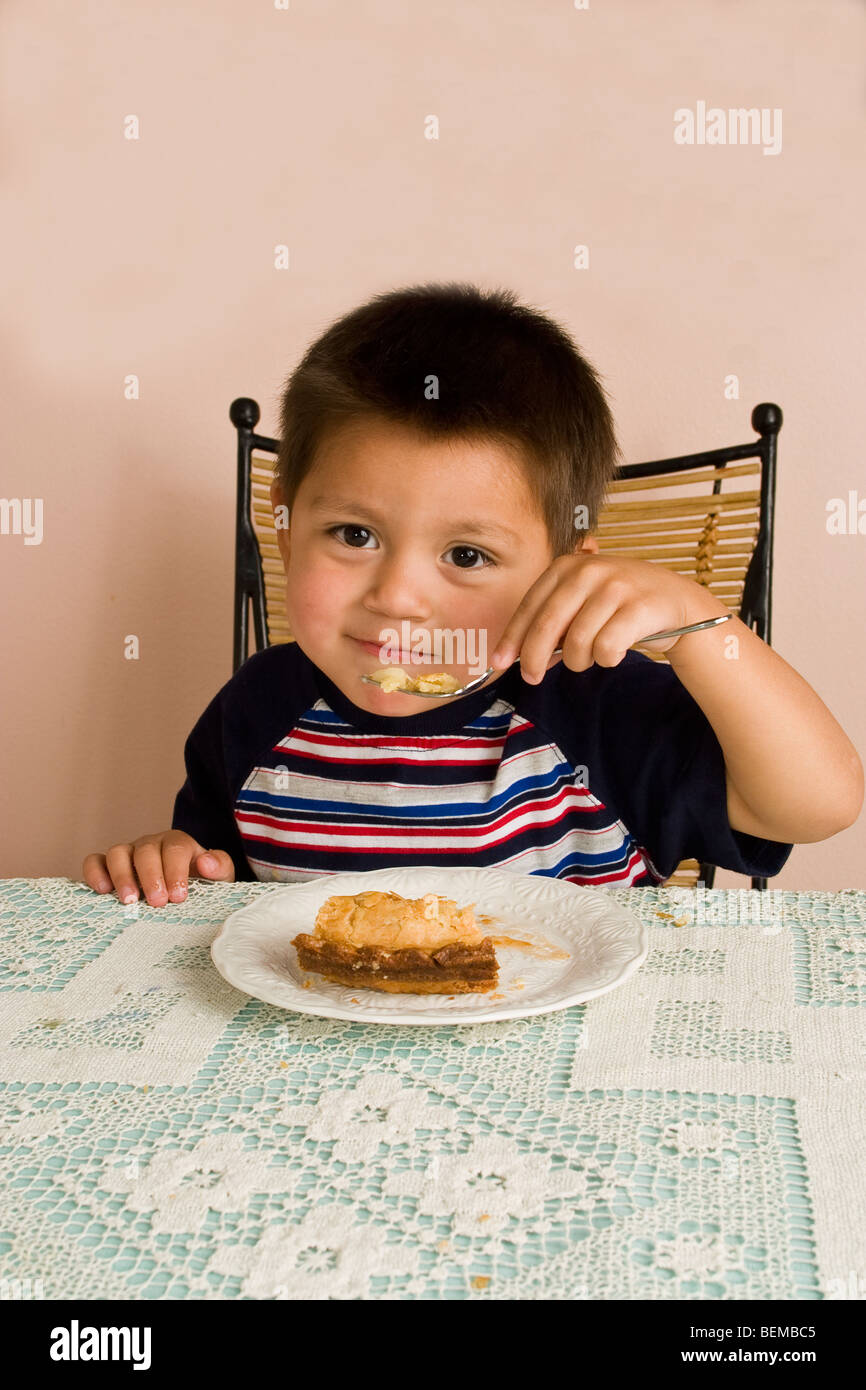4 Year Boy Bedroom Decorating Ideas: First Bite3-4 Year Old Hispanic Boy Eating Apple Pie At