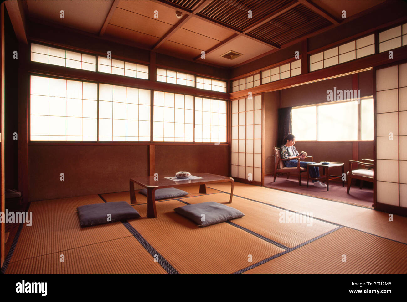 Interior of guest room at traditional Japanese inn, Ryokan Asakura, Shirone  city, Niigata Prefecture, Japan