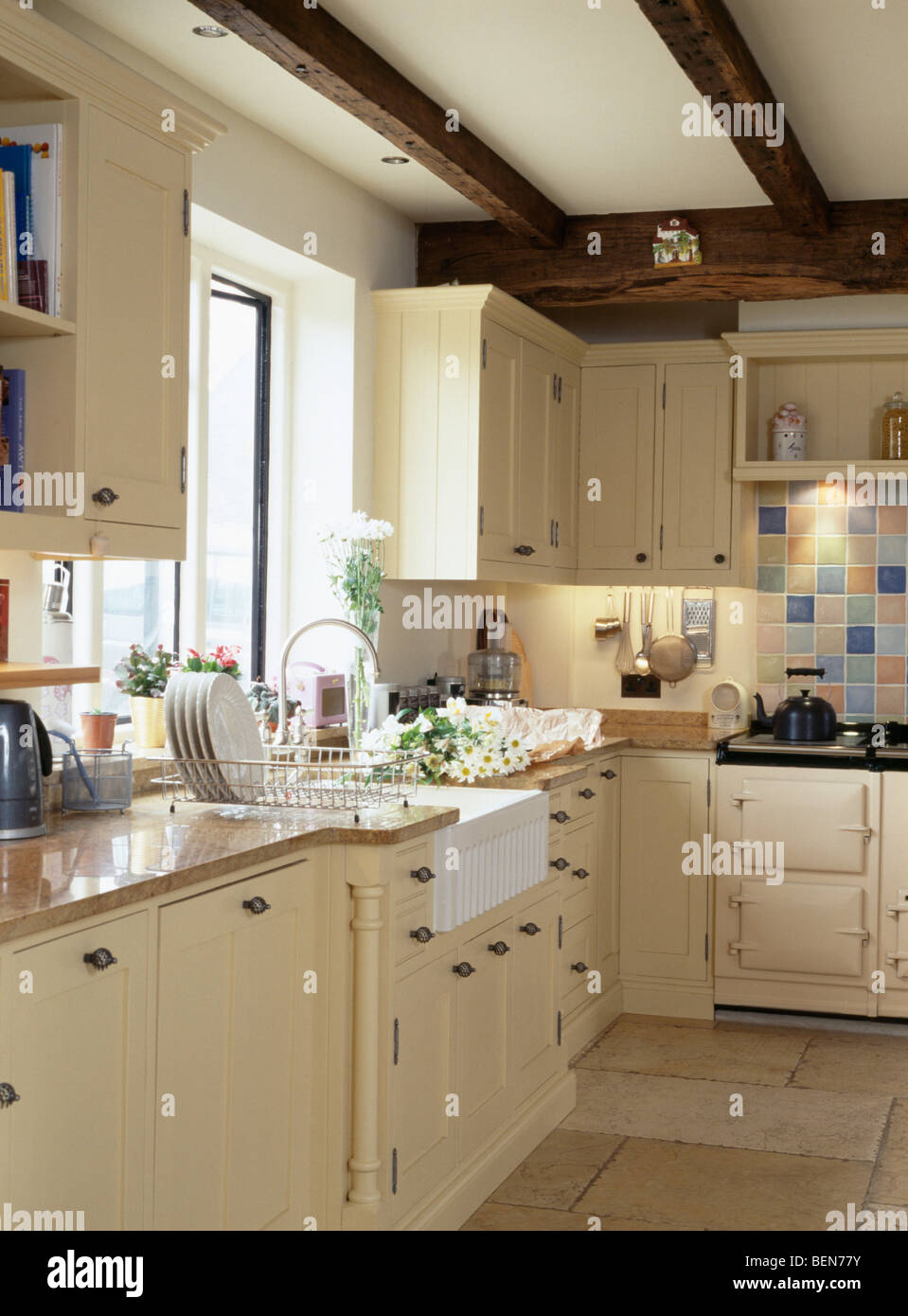 Belfast sink below window in country cottage kitchen with cream stock photo royalty free image - Pictures of country cottage kitchens ...