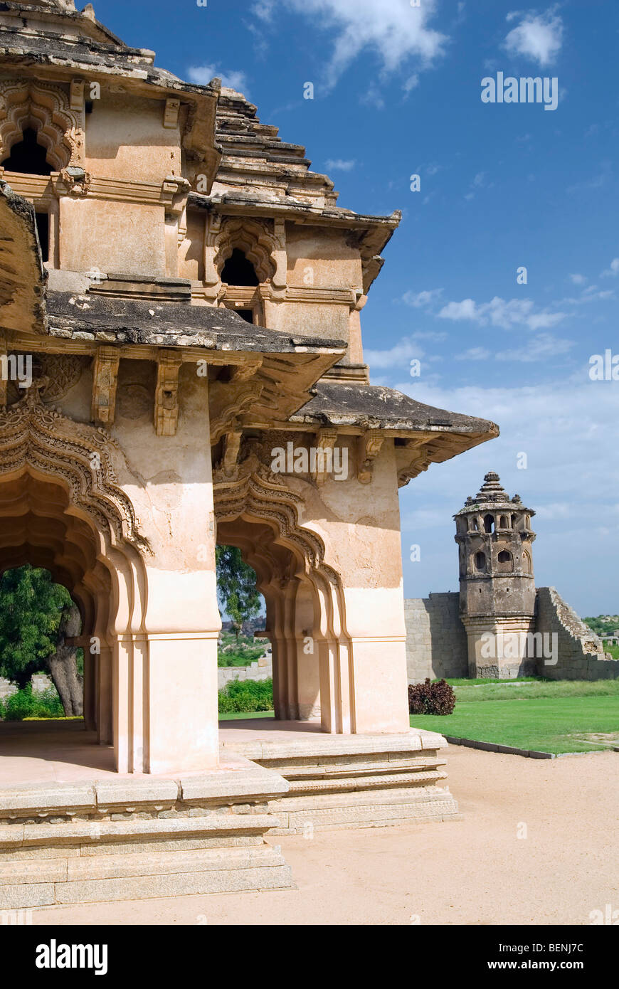 The lotus mahal shaped like a lotus flower from the top and has a the lotus mahal shaped like a lotus flower from the top and has a two story structure with beautiful arch ways set in geometric izmirmasajfo Images