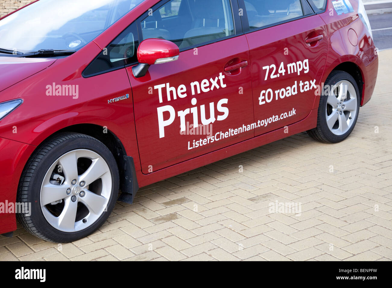 New Prius T Hybrid Red Motor Car With Sign Writing Economu Low - Car signwriting