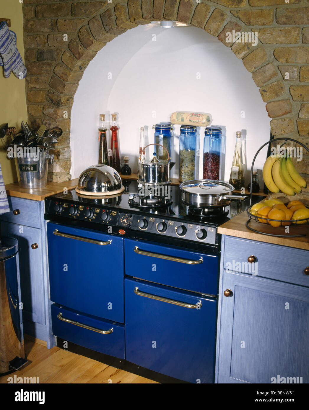 Kitchen Alcove Close Up Of Blue Range Oven In Alcove Of Traditional Kitchen With
