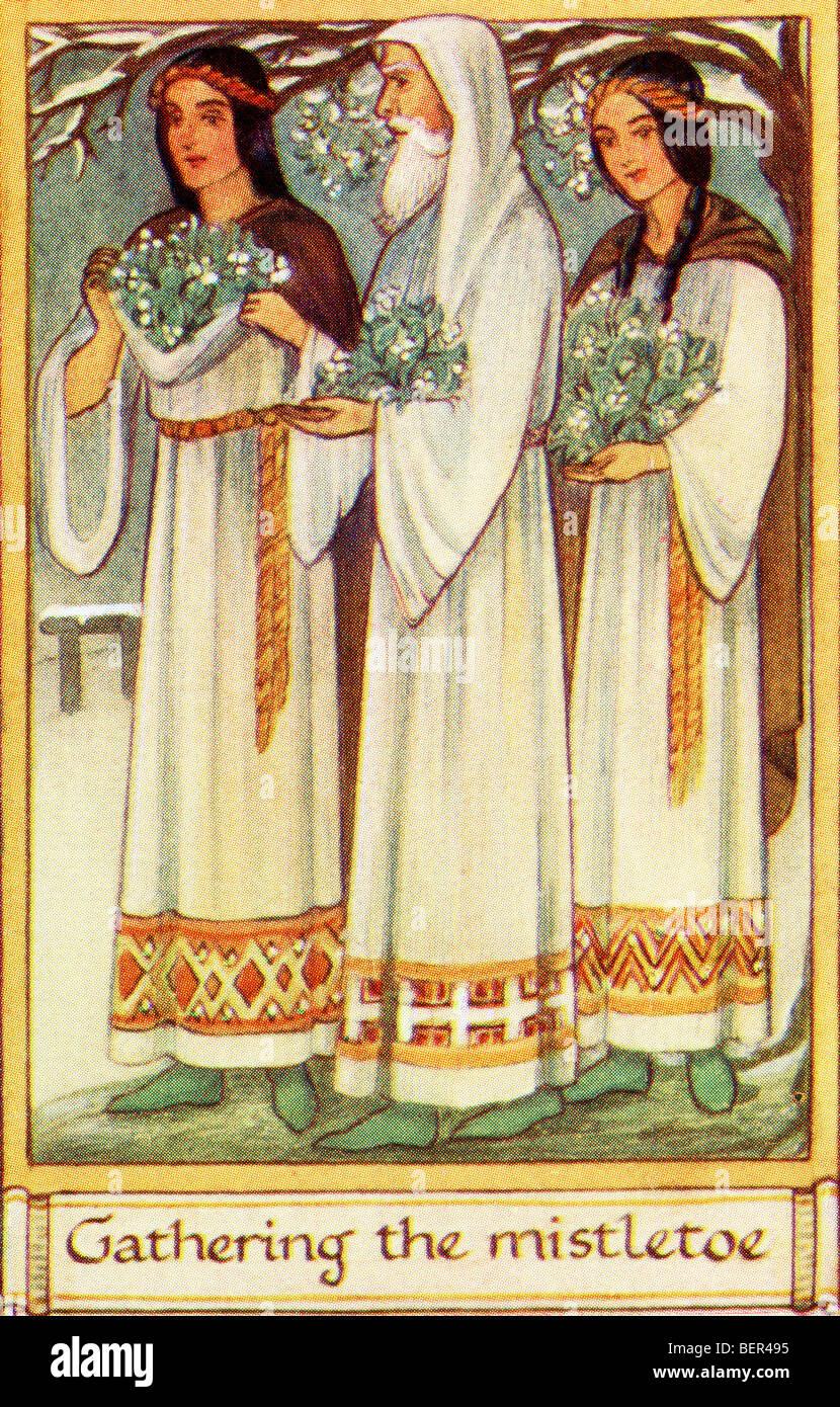The Origin of Christmas Customs. Druids gathering the Mistletoe ...
