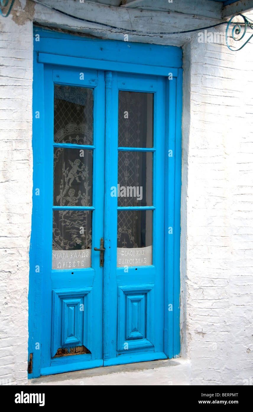 Traditional Blue Painted Wooden Door In The Old Town Or