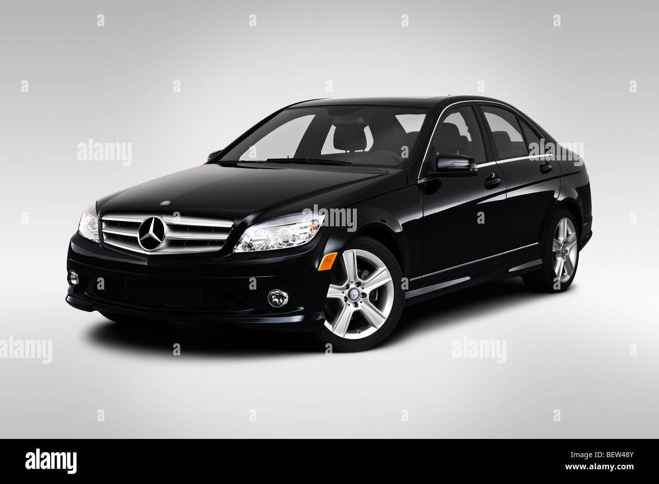 2010 mercedes benz c class c300 in black front angle view stock