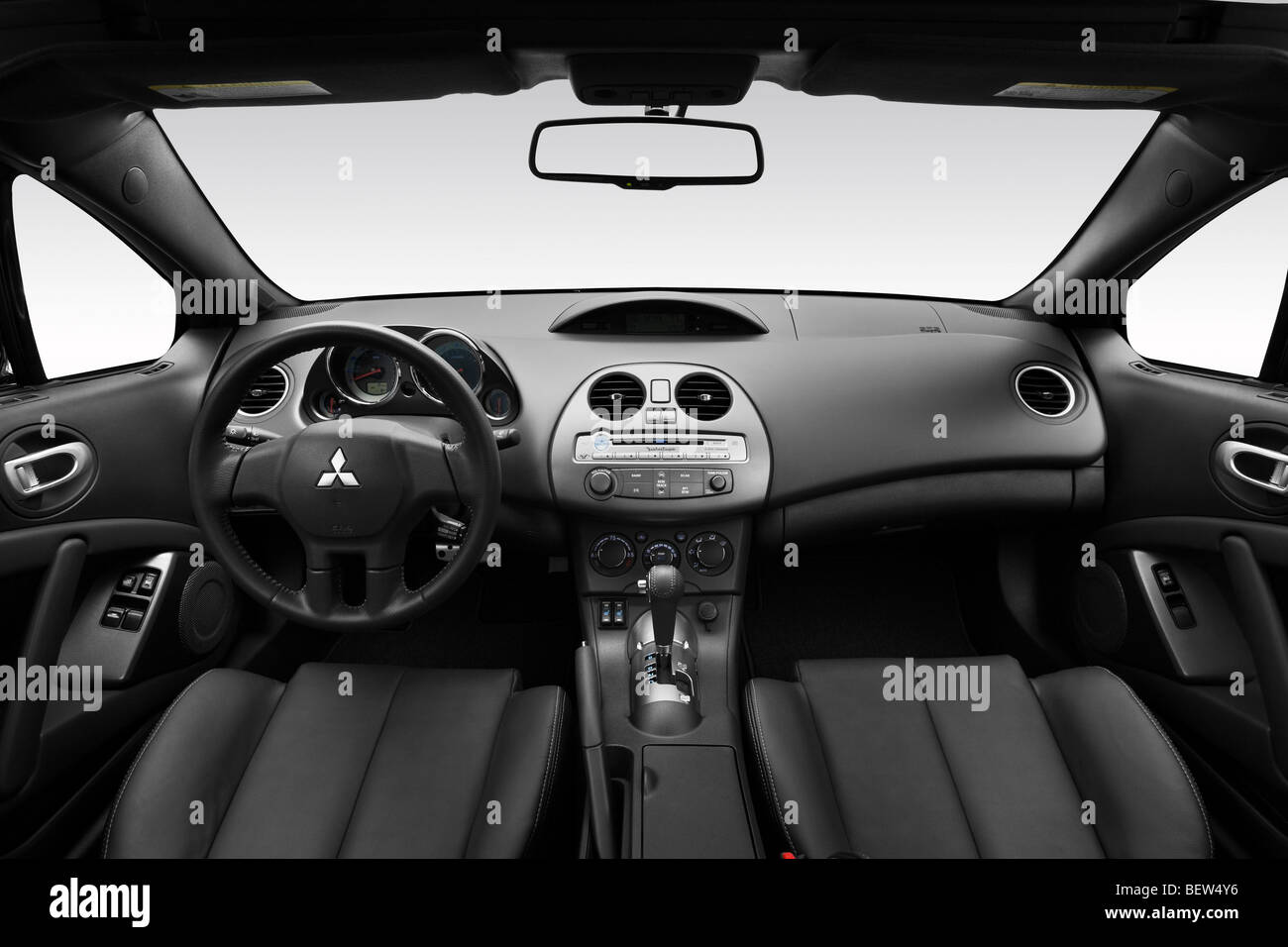 2010 mitsubishi eclipse spyder gt in black dashboard center console gear shifter view