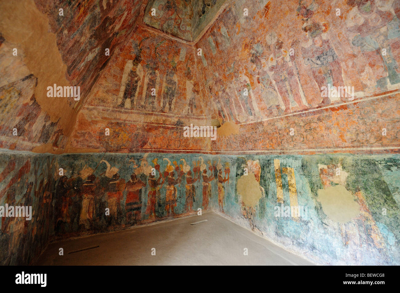 Mural paintings at the maya ruin site of bonampak chiapas for Bonampak mural painting