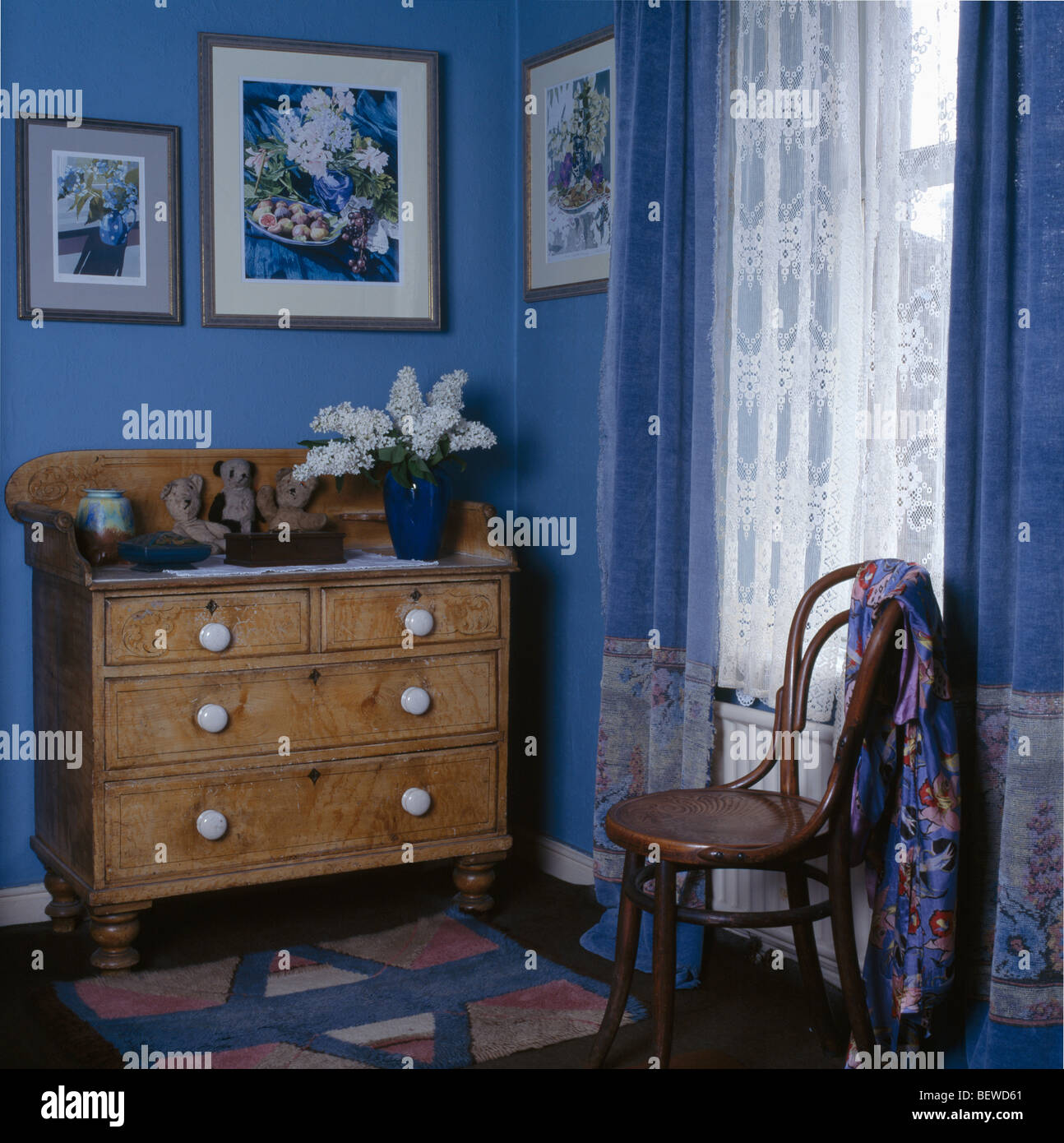 Pine Bedroom Chest Of Drawers Decorated Pine Chest Of Drawers In Small Blue Bedroom With