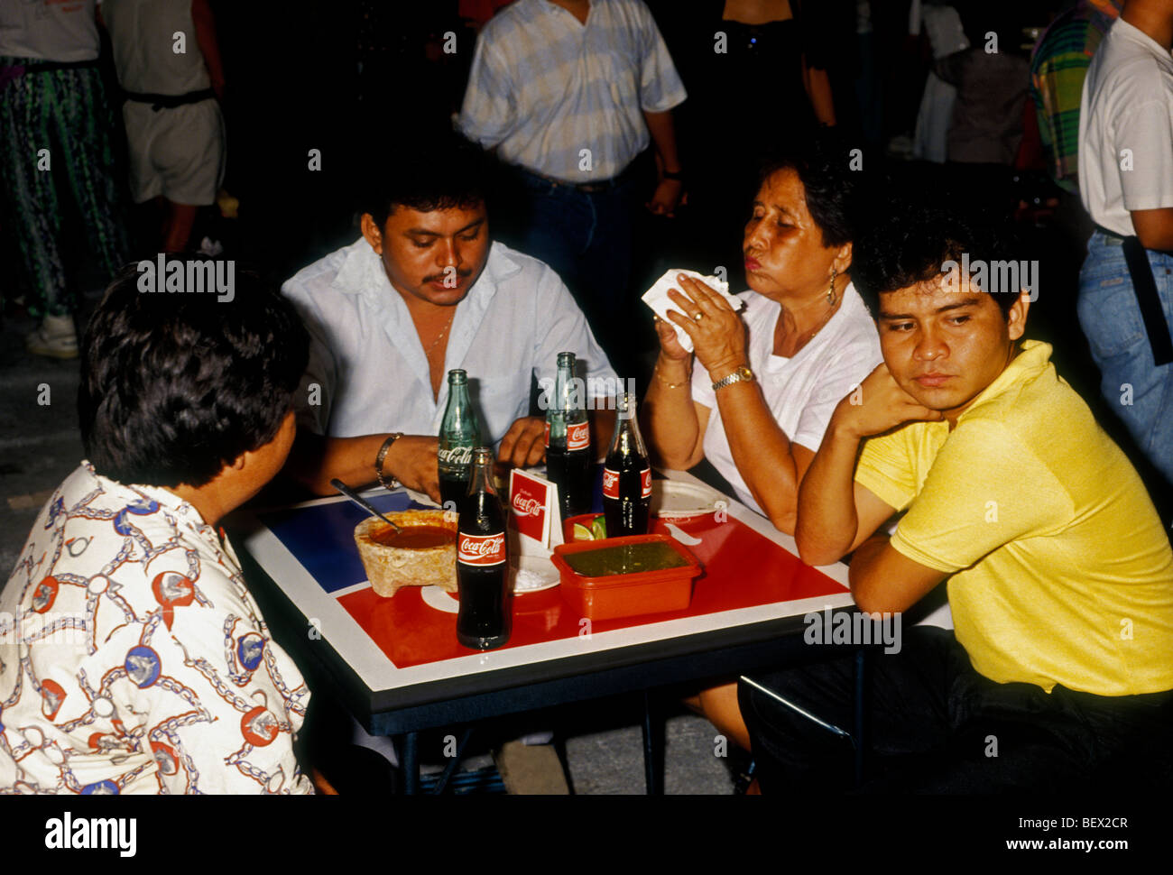 Mexicans Mexican People Family Eating At Restaurant Food Court And Drink City Of Cancun Quintana Roo State Mexico