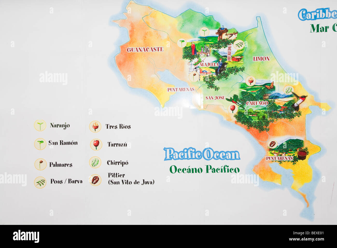 Cafe Britts Coffee Farm Map Of Coffe Regions Near Barva De - Costa rica regions map