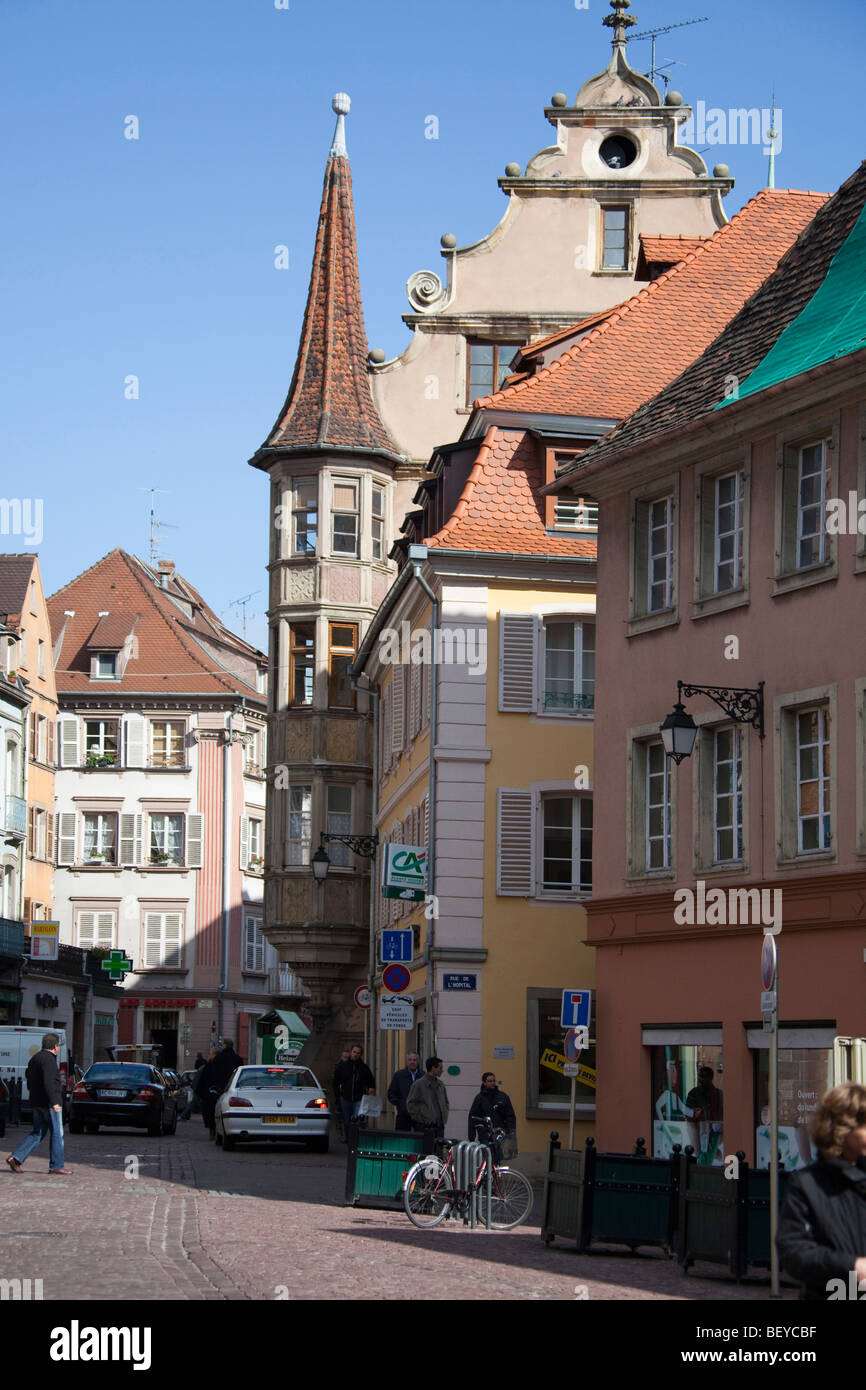traditional architecture buildings street view in colmar alsace haut stock photo royalty free. Black Bedroom Furniture Sets. Home Design Ideas