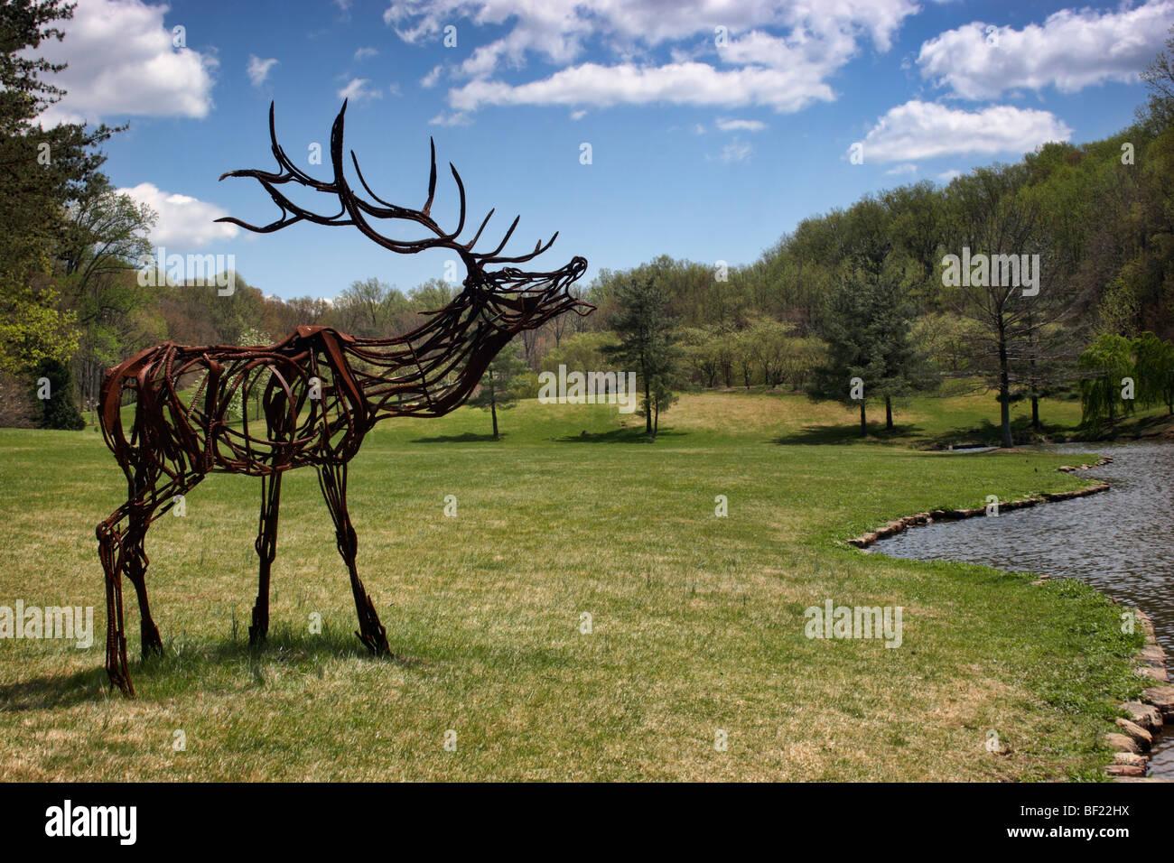 A Metal Sculpture Of A Moose On Loan To Meadowlark Botanical Gardens, Vienna,  VA