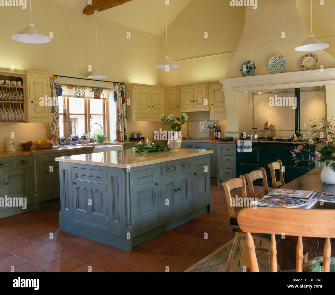 Blue Grey Yellow Kitchen: Blue-gray Island Unit In Traditional Yellow Country