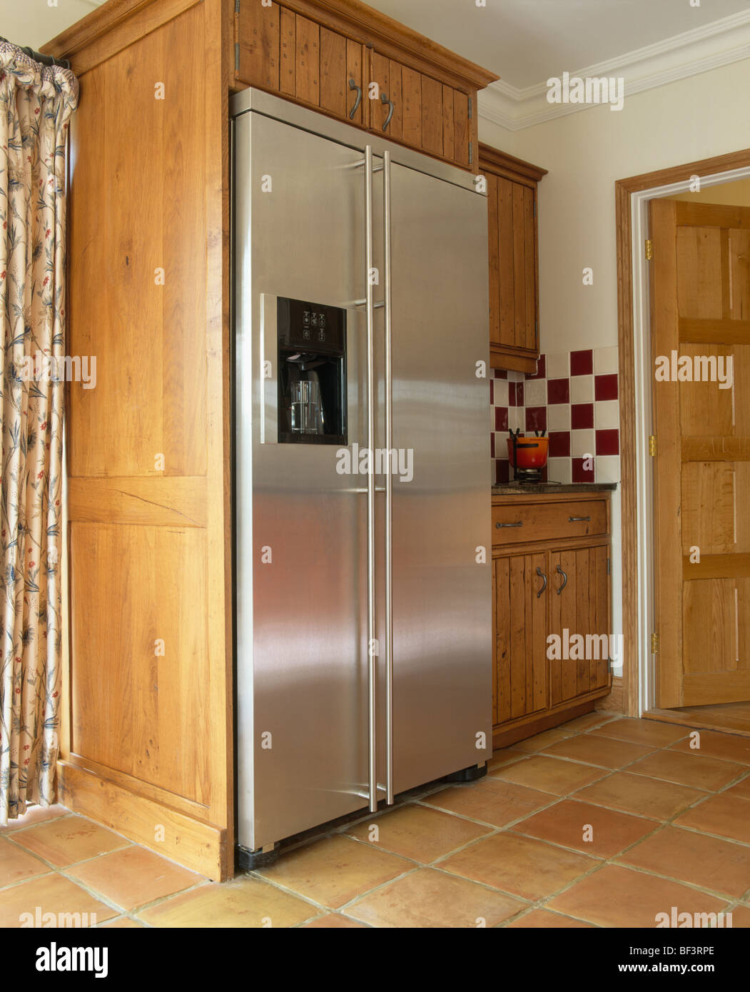 Large American Fridge Freezer Part - 35: Large Stainless Steel American-style Fridge Freezer In Fitted Unit In  Traditional Kitchen
