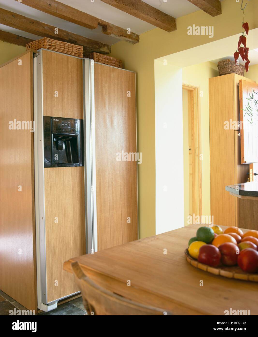 Fitted Kitchen Large American Style Fridge Freezer In Modern Fitted Kitchen Unit