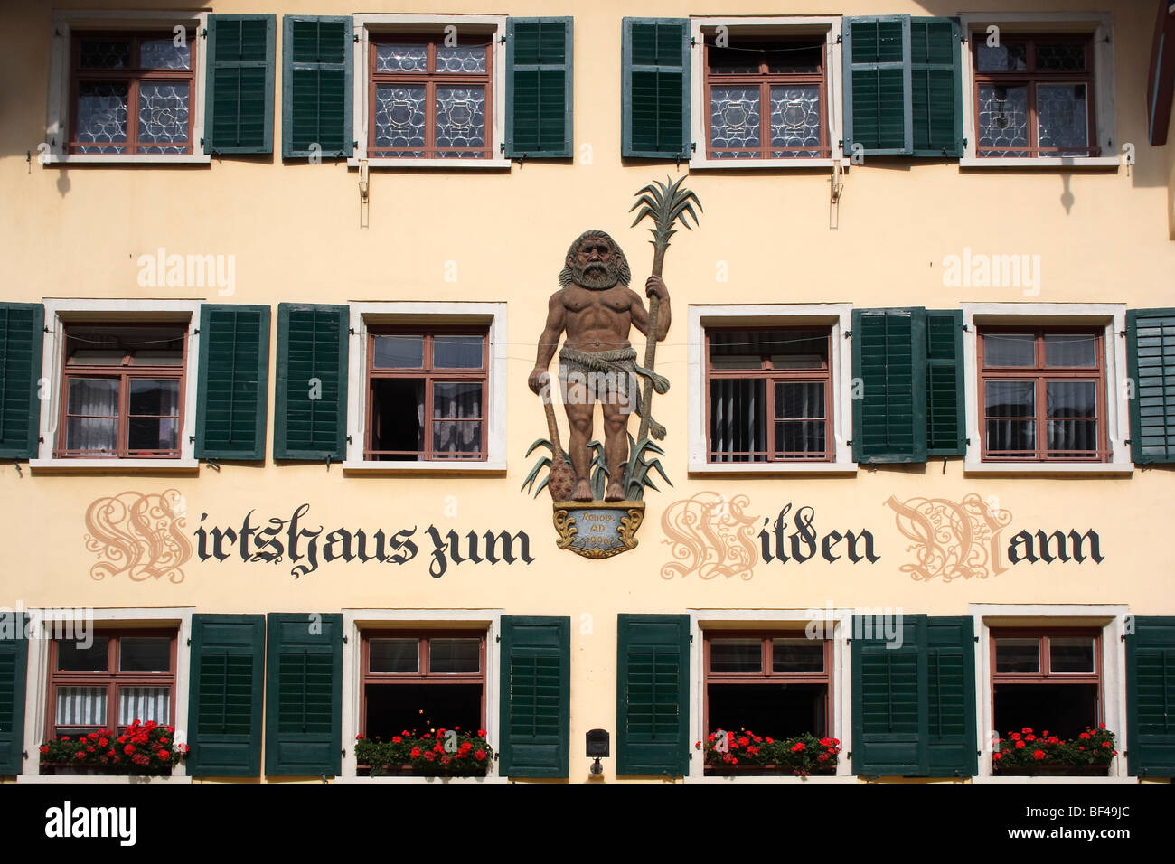 Fassade frontal  Window facade, Wirtshaus zum Wilden Man restaurant, pedestrian ...
