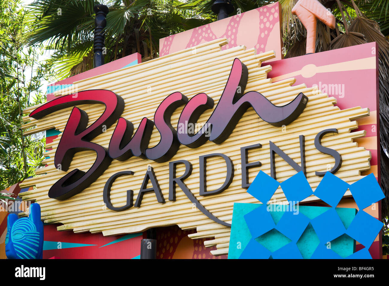 Entrance Sign To Busch Gardens Tampa Florida Usa Stock Photo