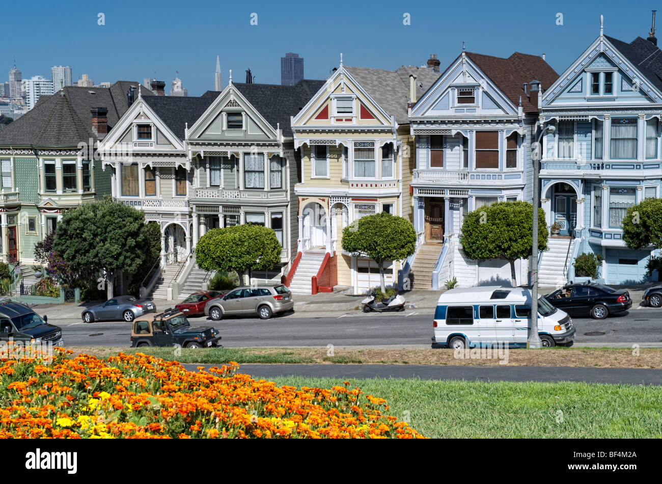 painted ladies or postcard row houses alamo square steiner street stock photo royalty free. Black Bedroom Furniture Sets. Home Design Ideas