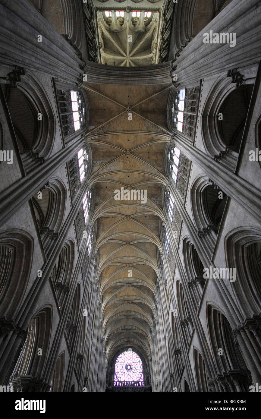 Superb Ceiling Of The Nave Of A Gothic Cathedral, Rouen, Normandy, France, Europe