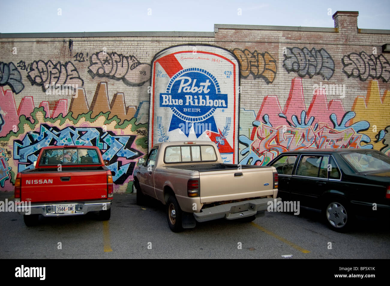 Graffiti wall atlanta - A Graffiti Covered Wall Featuring A Giant Pabst Blue Ribbon At A Parking Lot In East Atlanta Ga