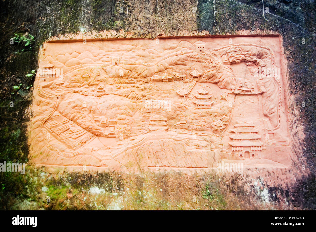 Stone Relife Carved With Map Of Tusi City Enshi Tujia And Miao - Enshi map