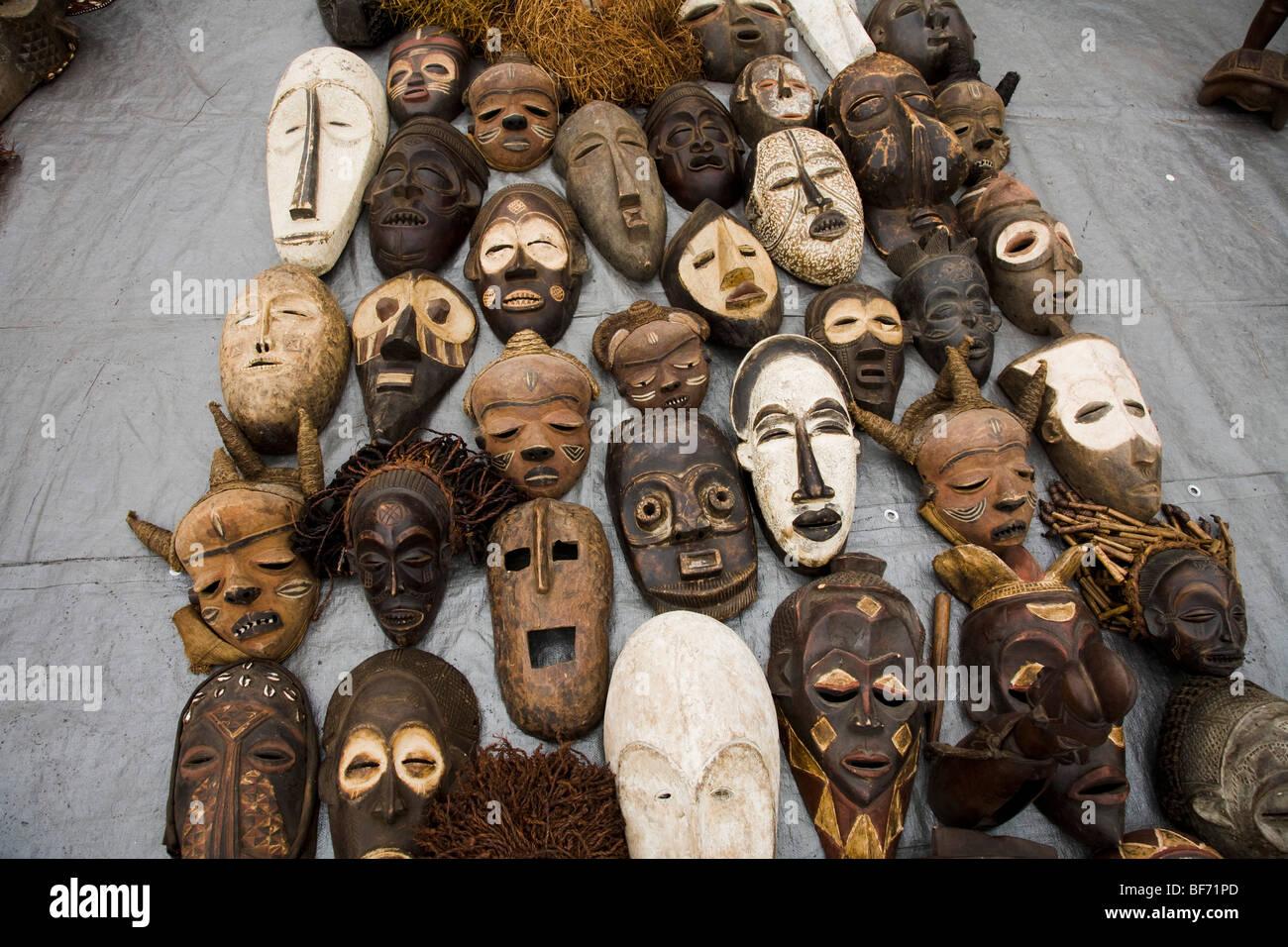 african masks for sale at the rose bowl swap meet pasadena stock photo royalty free image. Black Bedroom Furniture Sets. Home Design Ideas