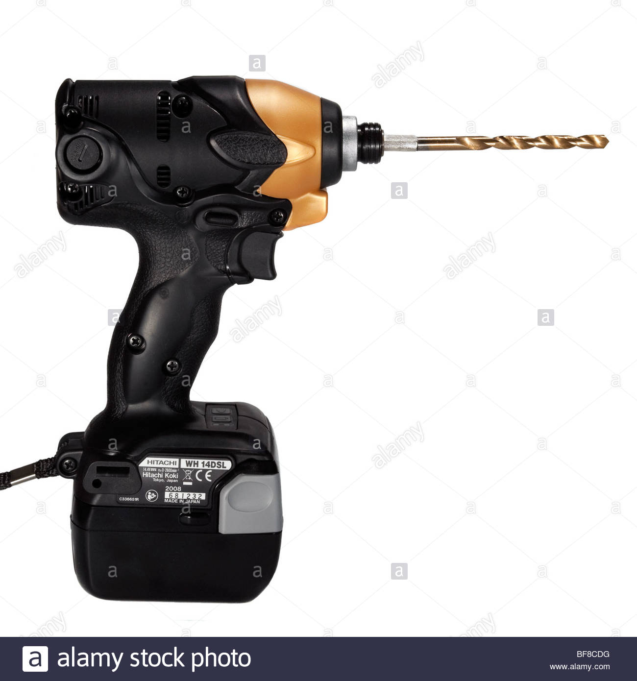 hitachi cordless drill. hitachi cordless drill cut out on a white background. impact driver with li-on rechargeable battery.