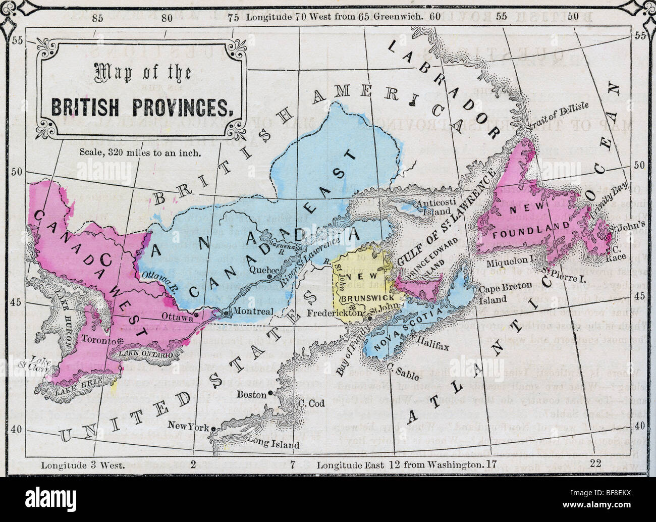 original old map of canada from 1865 geography textbook stock