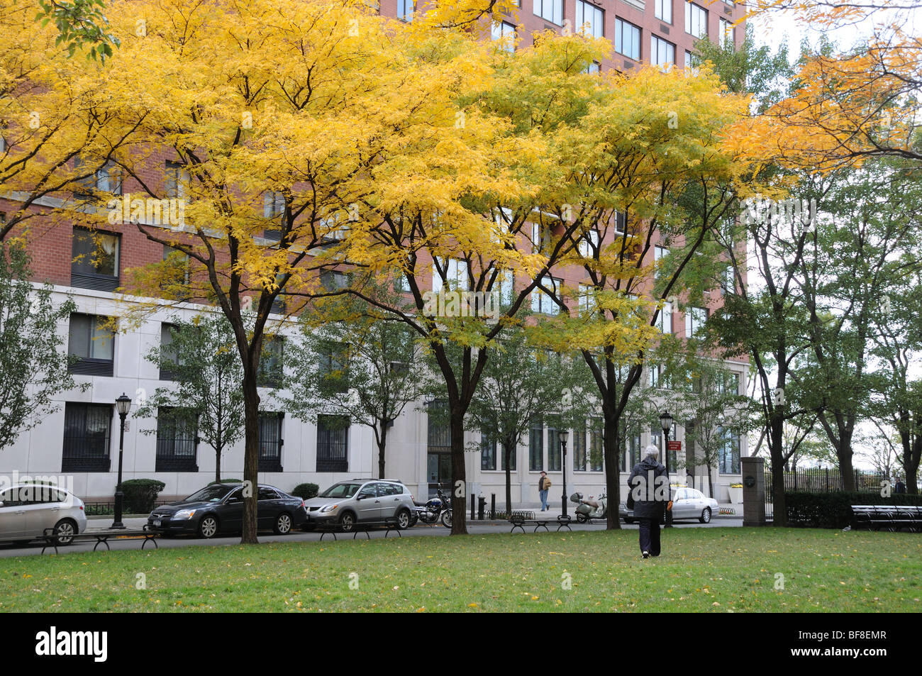 Apartment Buildings Surround A Small Park On Rector Place In - Small apartment buildings