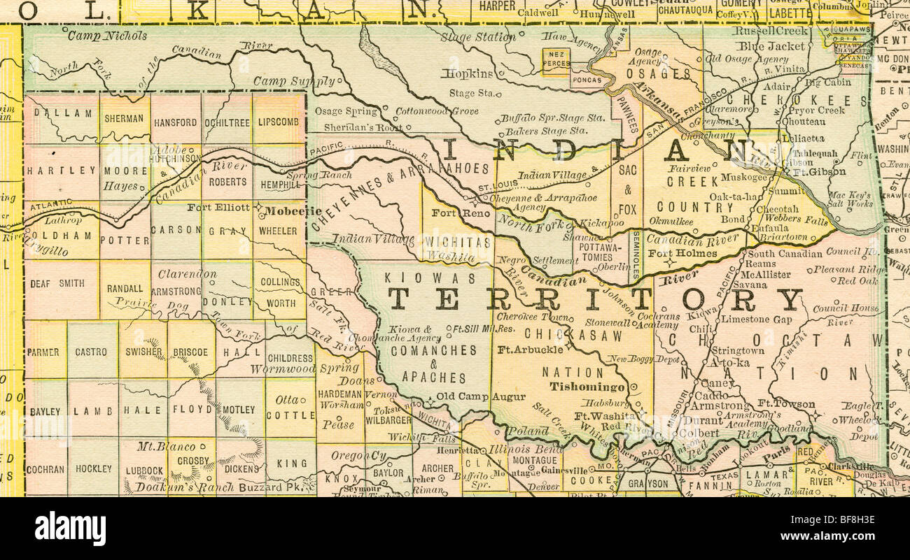 Original Old Map Of Oklahoma Indian Territory From Geography - Map of oklahoma