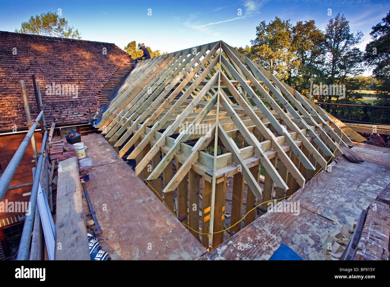 New Roof Construction Built For A House Extension In Sussex, England, UK  2009
