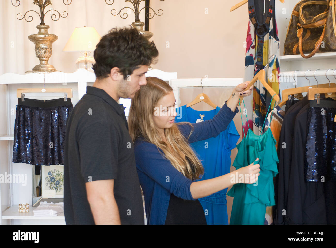 Stock Photo   Young Couple Shopping In Store On Montana Avenue Santa Monica  Los Angeles Southern California