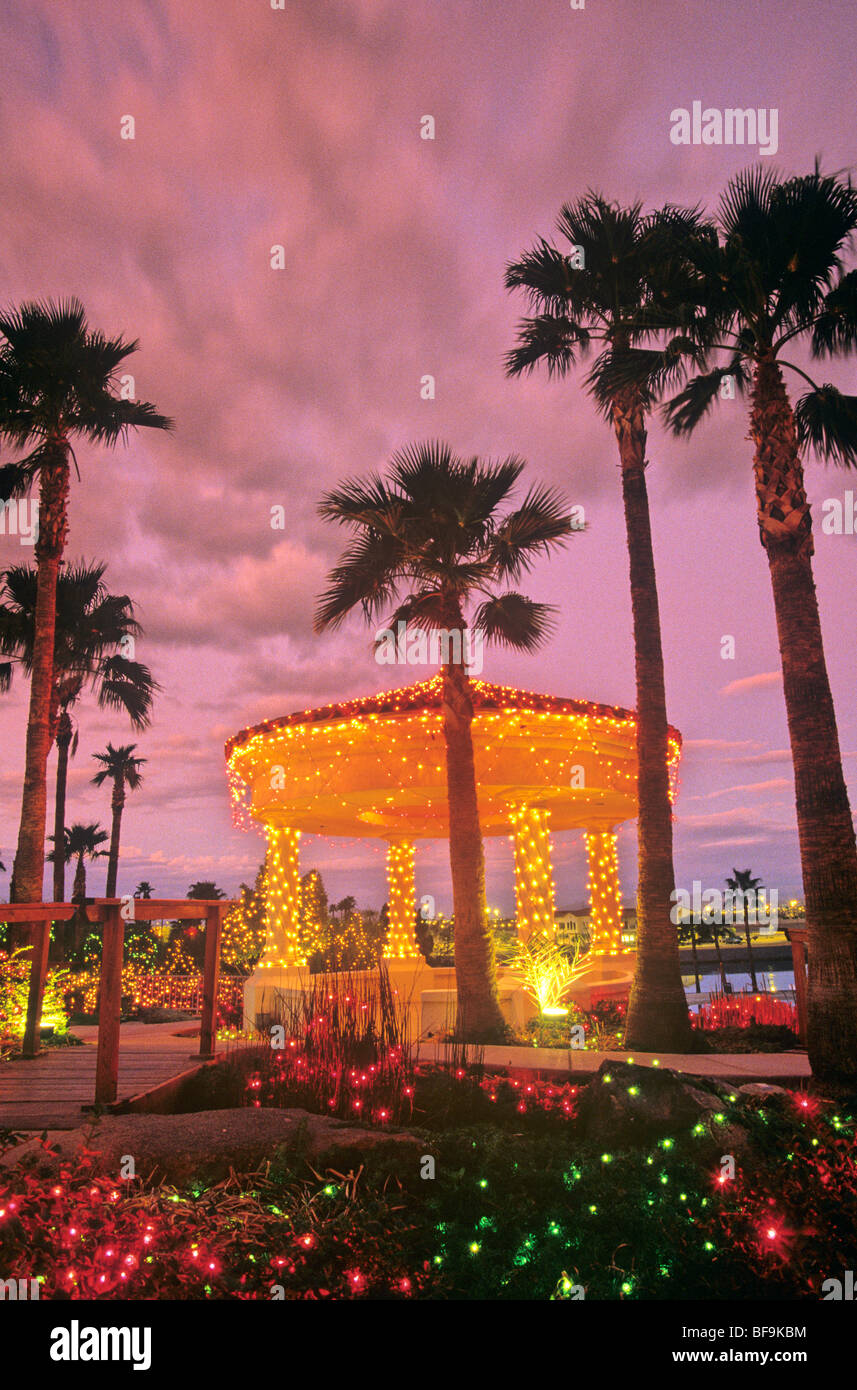 Gazebo decorated with Christmas lights at Val Vista Lakes in ...