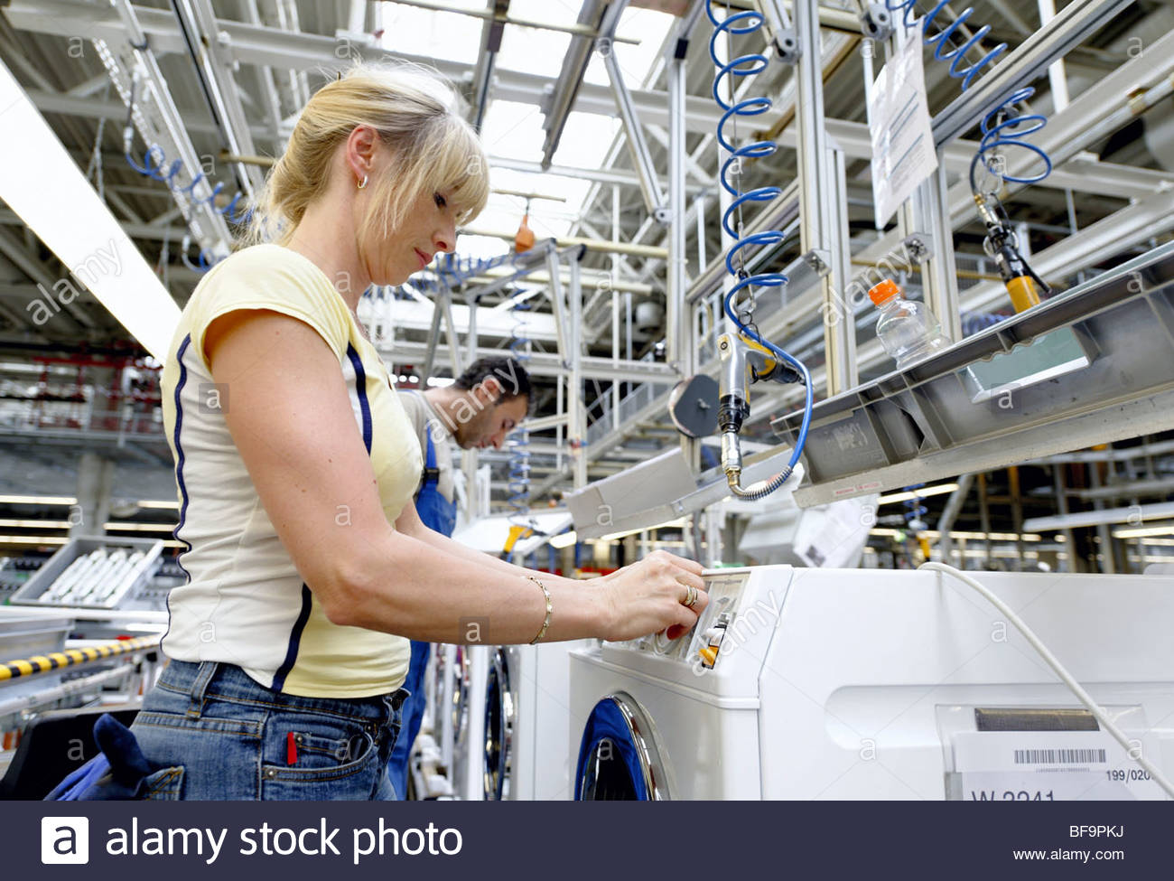 deu germany production of washing machines at miele kg in stock photo royalty free image. Black Bedroom Furniture Sets. Home Design Ideas